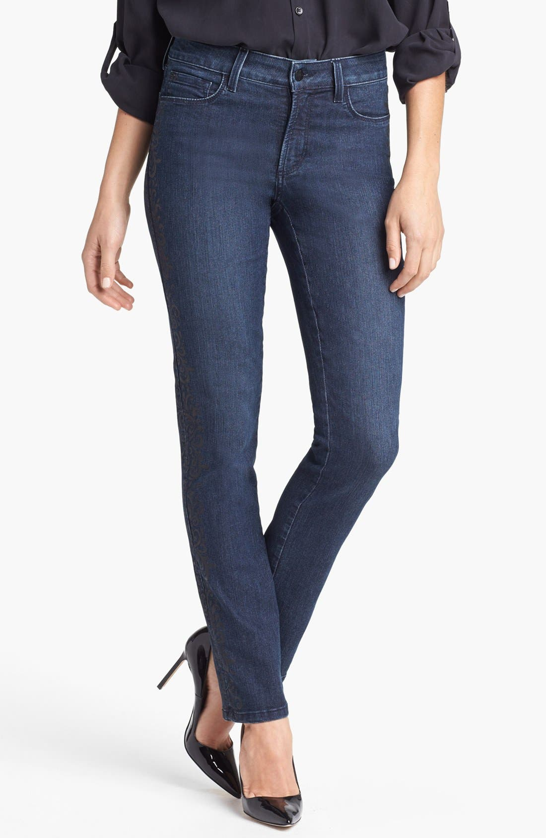 Alternate Image 1  - NYDJ 'Sheri' Lace Detail Stretch Skinny Stretch Jeans (Old River)