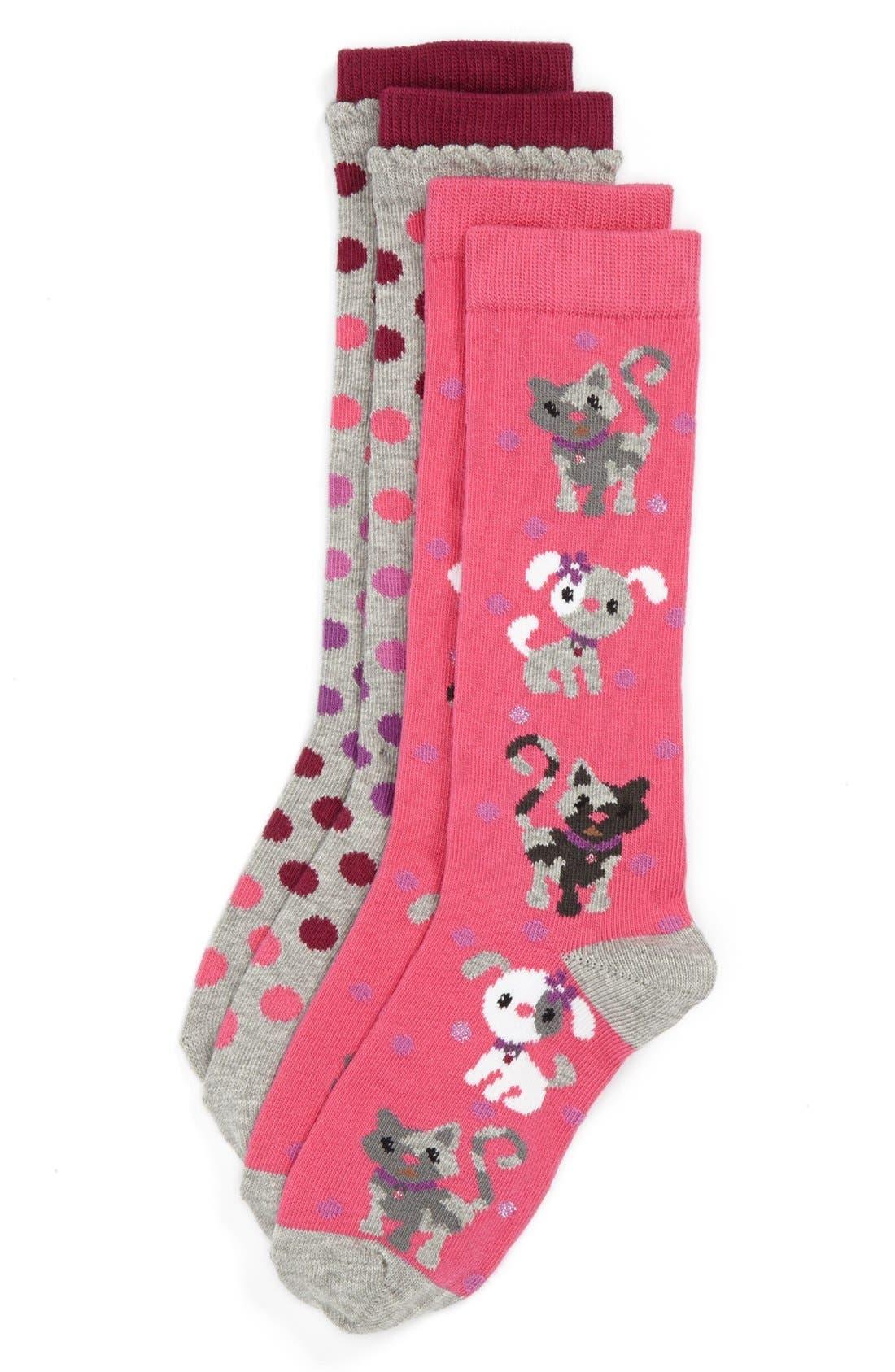 Alternate Image 1 Selected - Nordstrom 'Polka Pet' Knee High Socks (2-Pack) (Toddler Girls & Little Girls)