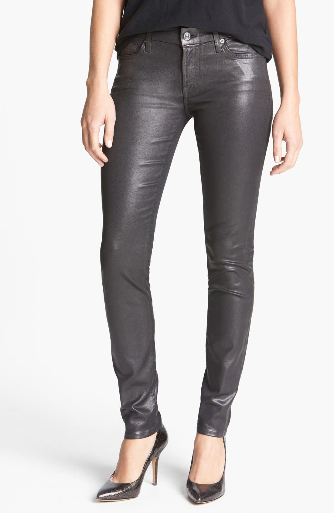 Alternate Image 1 Selected - 7 For All Mankind® 'Higher Gloss Gummy' Skinny Jeans (Armor Grey)