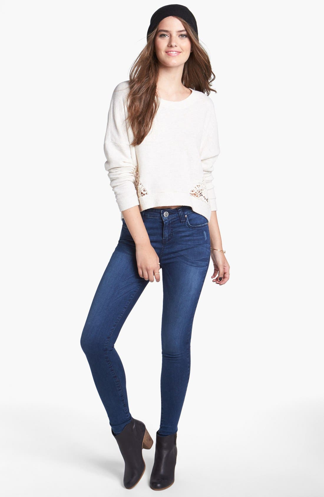Alternate Image 3  - STS Blue High Waist Skinny Jeans (Arctic Blue) (Juniors)