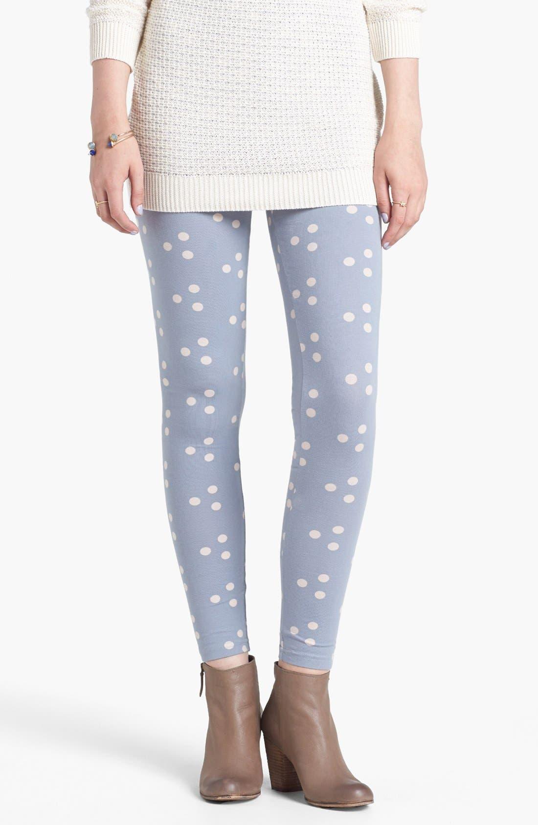 Alternate Image 1 Selected - Threads for Thought Polka Dot Leggings (Juniors)
