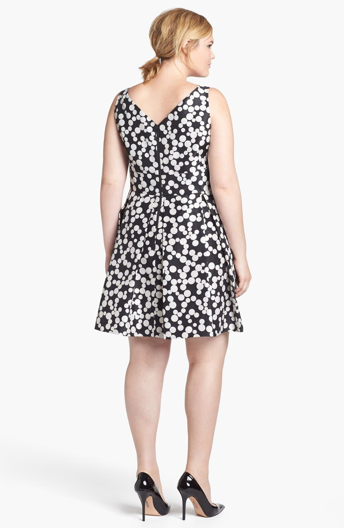 Alternate Image 2  - Taylor Dresses Polka Dot Fit & Flare Dress (Plus Size)