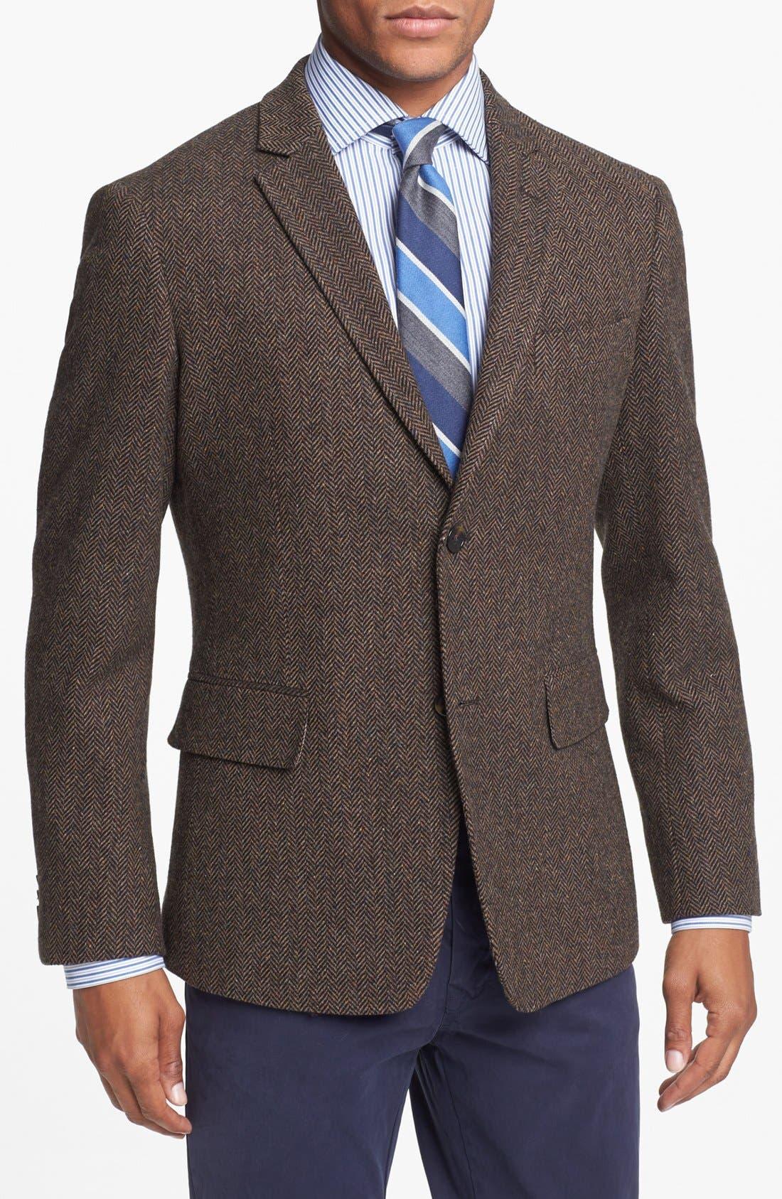 Main Image - Wallin & Bros. Extra Trim Fit Herringbone Sportcoat