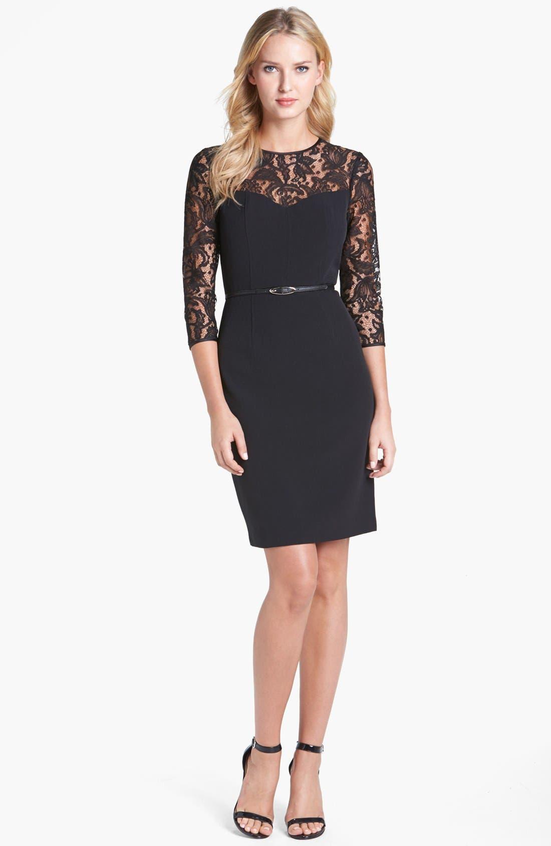 Alternate Image 1 Selected - Adrianna Papell Lace Yoke Crepe Sheath Dress