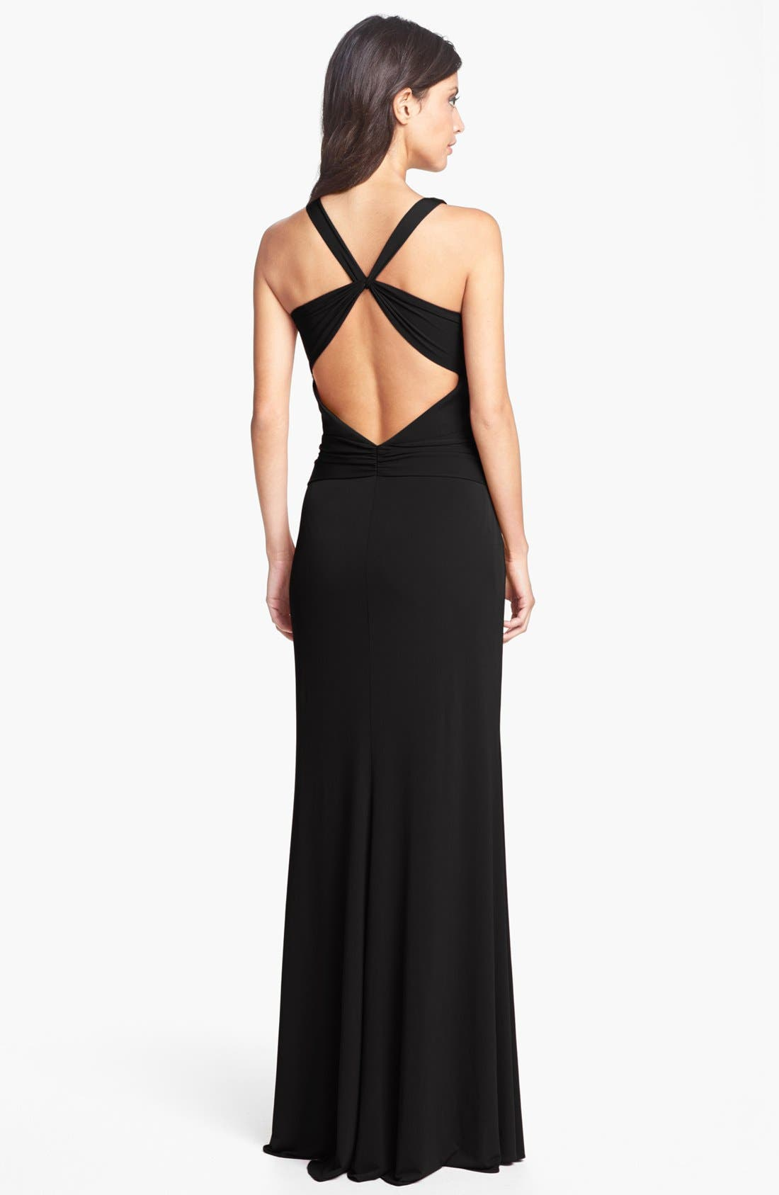 Alternate Image 2  - Laundry by Shelli Segal Knotted Jersey Cross Back Gown