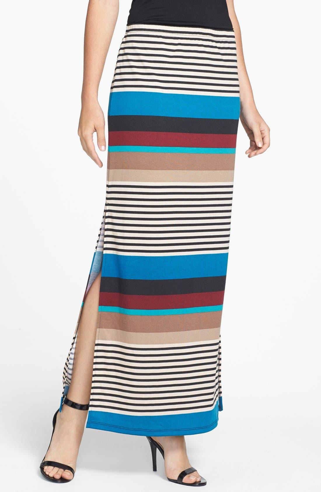 Main Image - Olive & Oak Variegated Stripe Side Slit Maxi Skirt