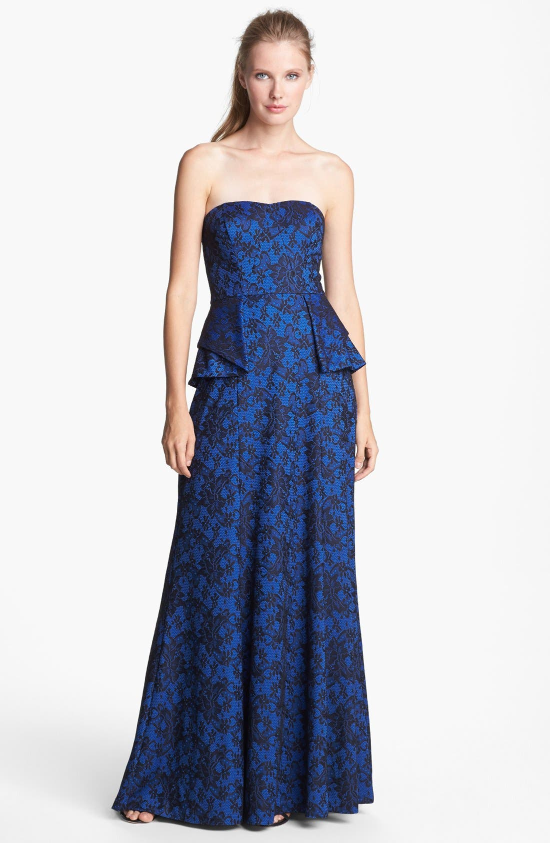 Alternate Image 1 Selected - Jessica Simpson Bonded Lace Peplum Gown