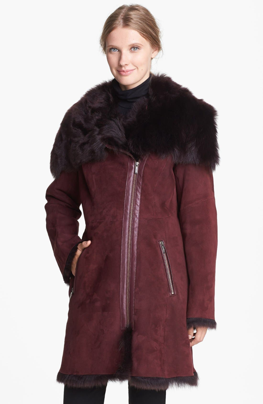 Alternate Image 1  - Cole Haan Asymmetrical Zip Genuine Toscana Shearling Coat