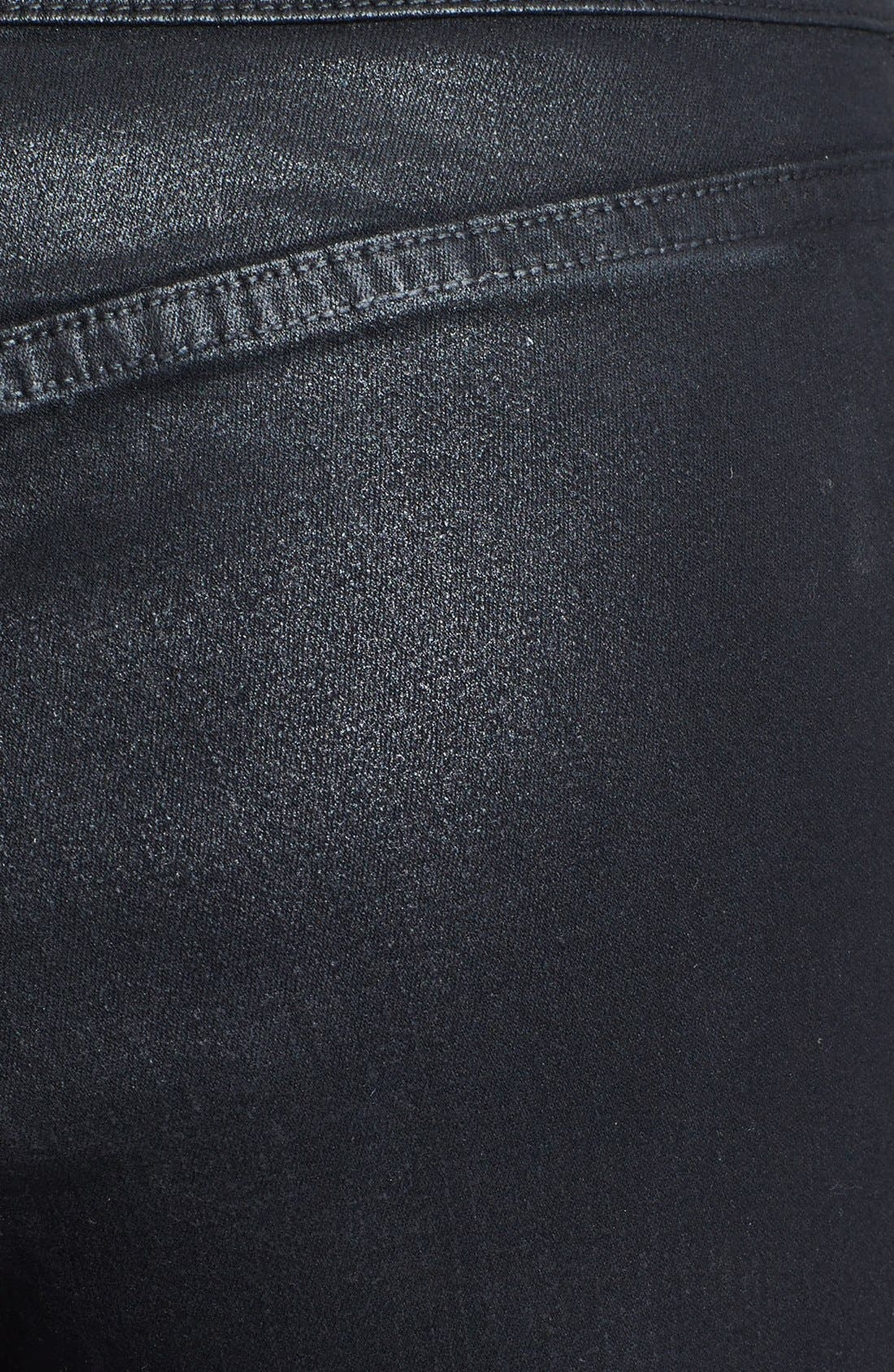 Alternate Image 3  - NYDJ Coated Stretch Skinny Jeans (Black)