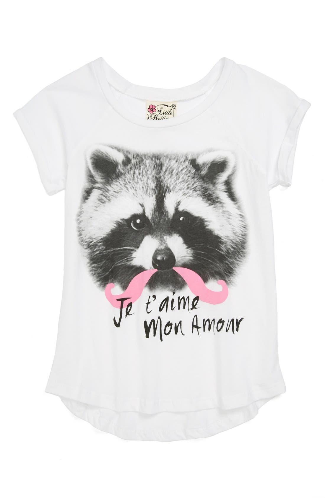 Main Image - Little Pretties 'Mustache Raccoon' Tee (Little Girls)