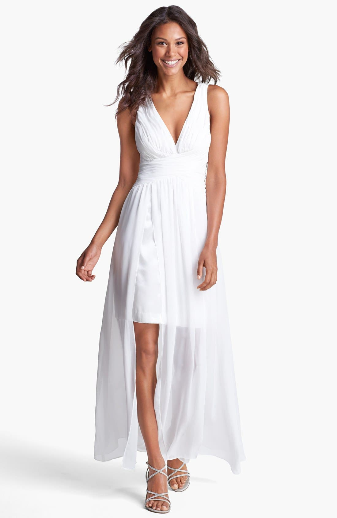 Alternate Image 1 Selected - Hailey by Adrianna Papell Ruched Chiffon Gown