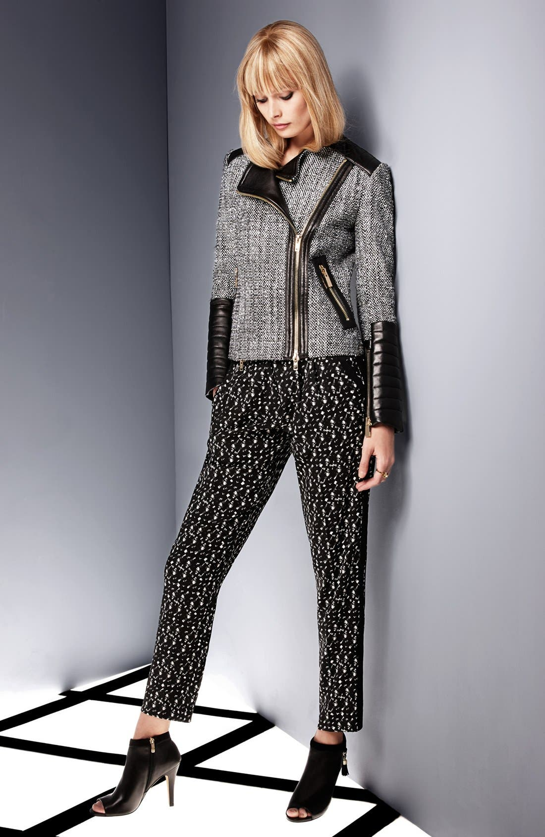 Alternate Image 7  - Vince Camuto Tweed & Faux Leather Moto Jacket