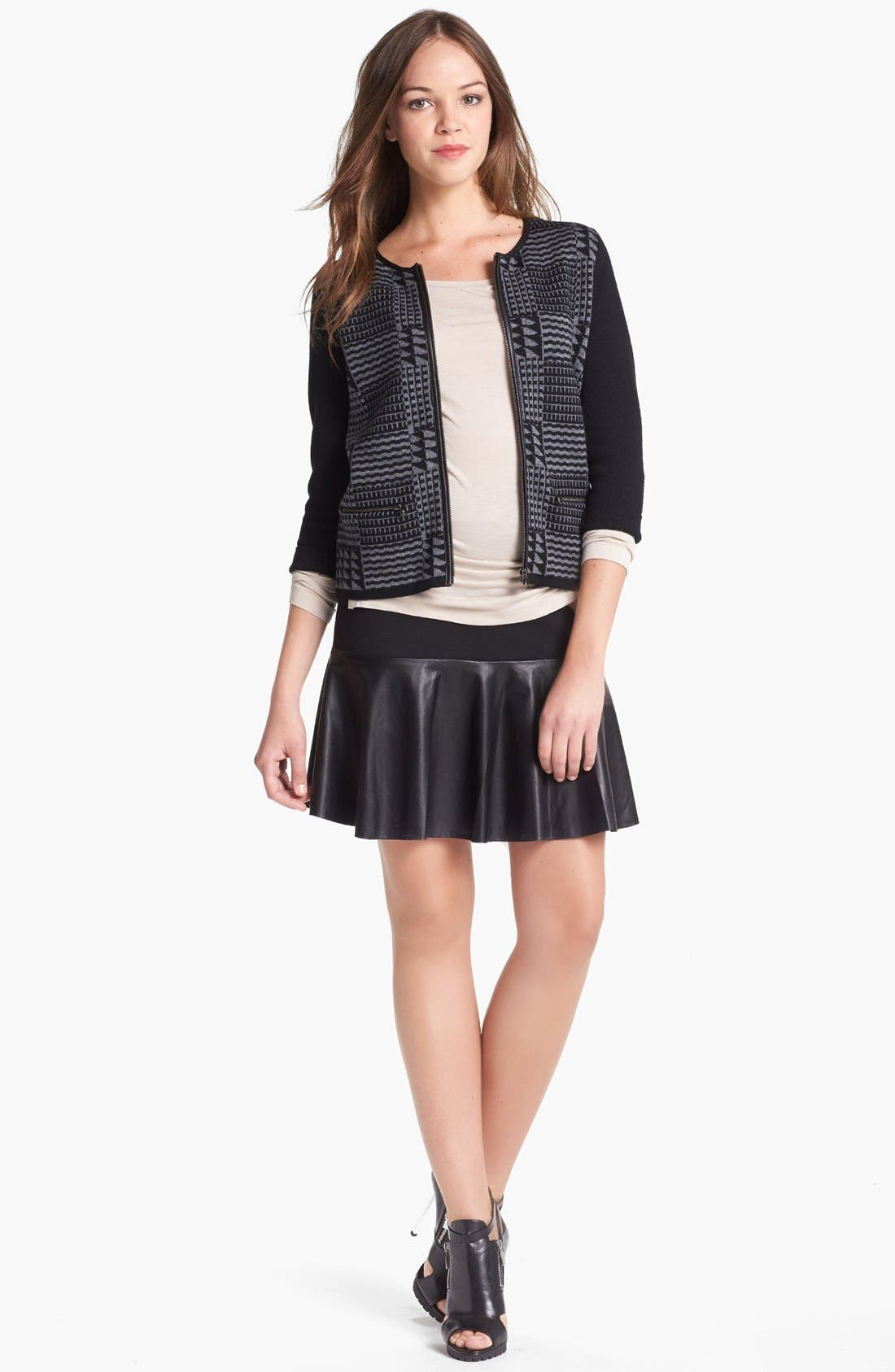Alternate Image 1 Selected - Halogen® Faux Leather Trim Sweater Jacket  (Regular & Petite)