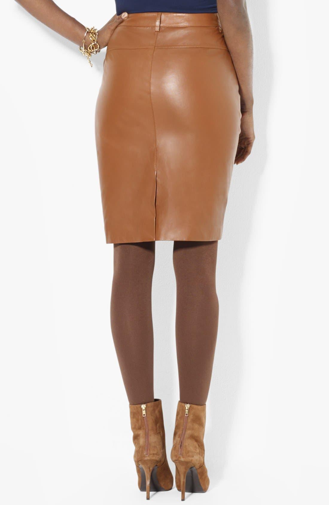 Alternate Image 2  - Lauren Ralph Lauren Leather Pencil Skirt