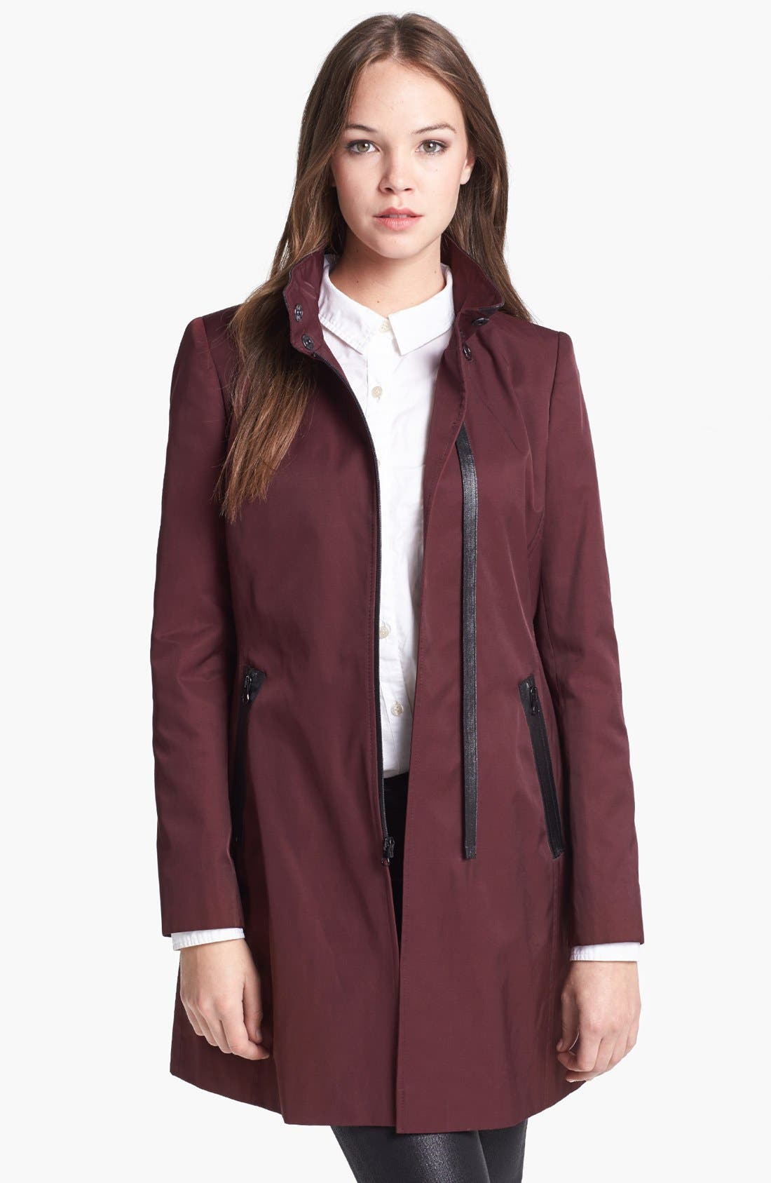 Alternate Image 4  - Via Spiga Asymmetrical Faux Leather Trim Raincoat (Online Only)