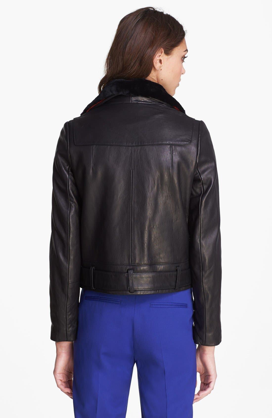 Alternate Image 3  - The Kooples Leather Biker Jacket with Genuine Fur Collar