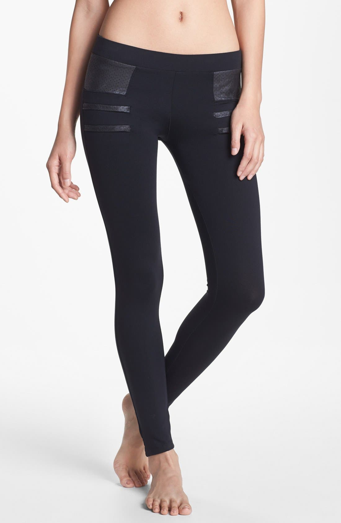 Alternate Image 1 Selected - Solow Faux Leather Trim Leggings