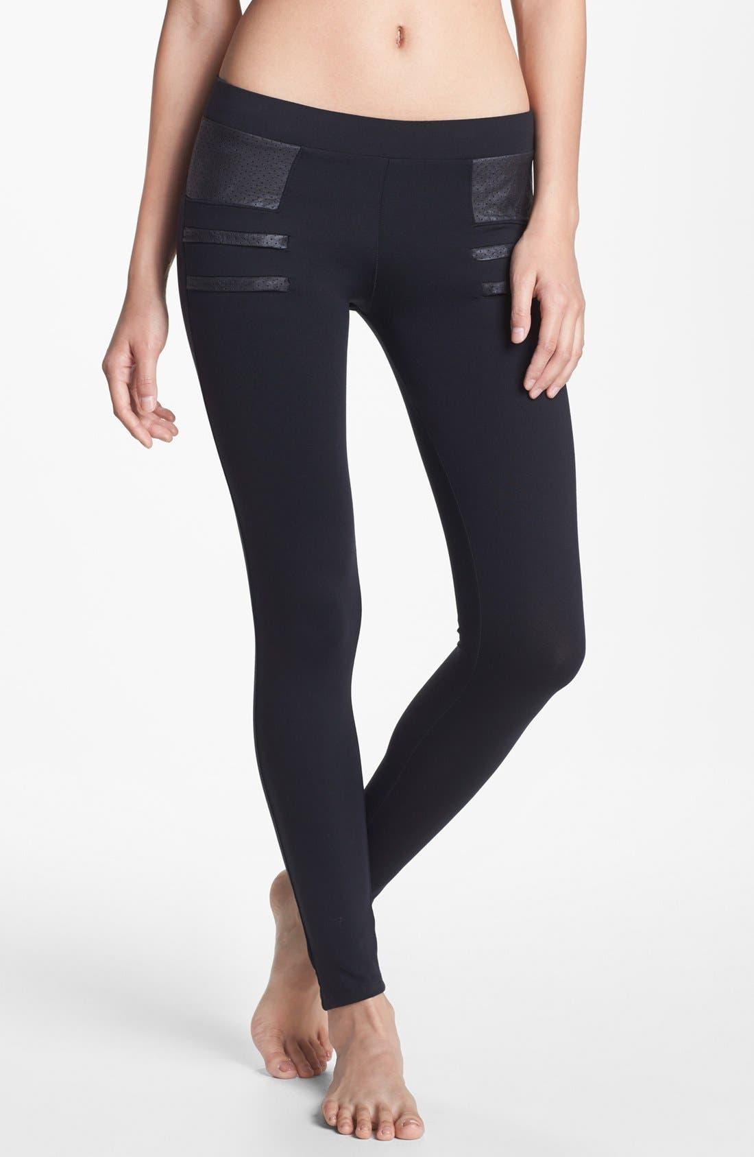 Main Image - Solow Faux Leather Trim Leggings