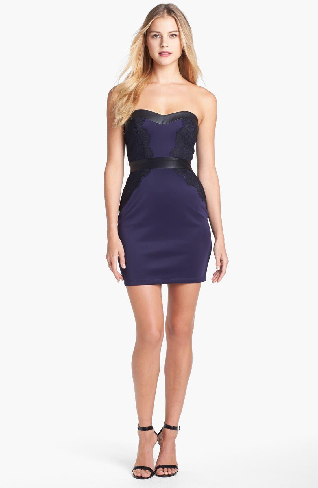 Alternate Image 2  - GUESS Mixed Media Mini Sheath Dress