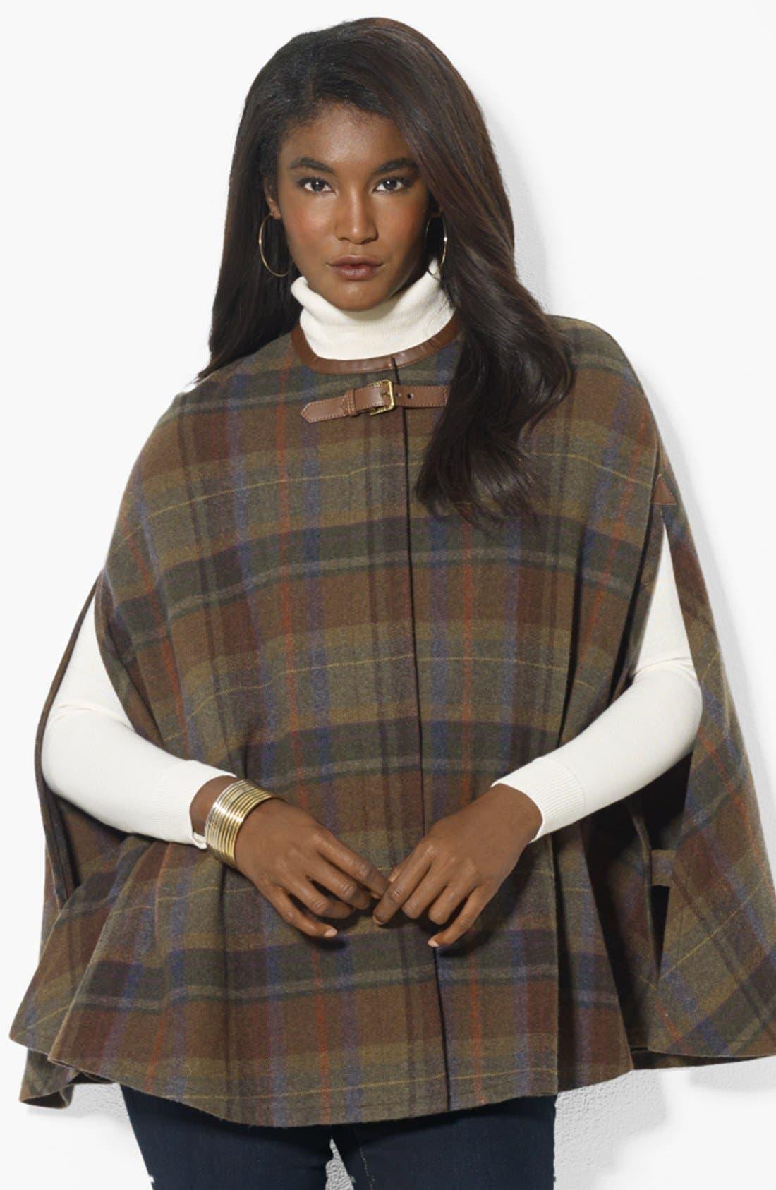Alternate Image 1 Selected - Lauren Ralph Lauren Plaid Wool Plaid Cape (Online Only)