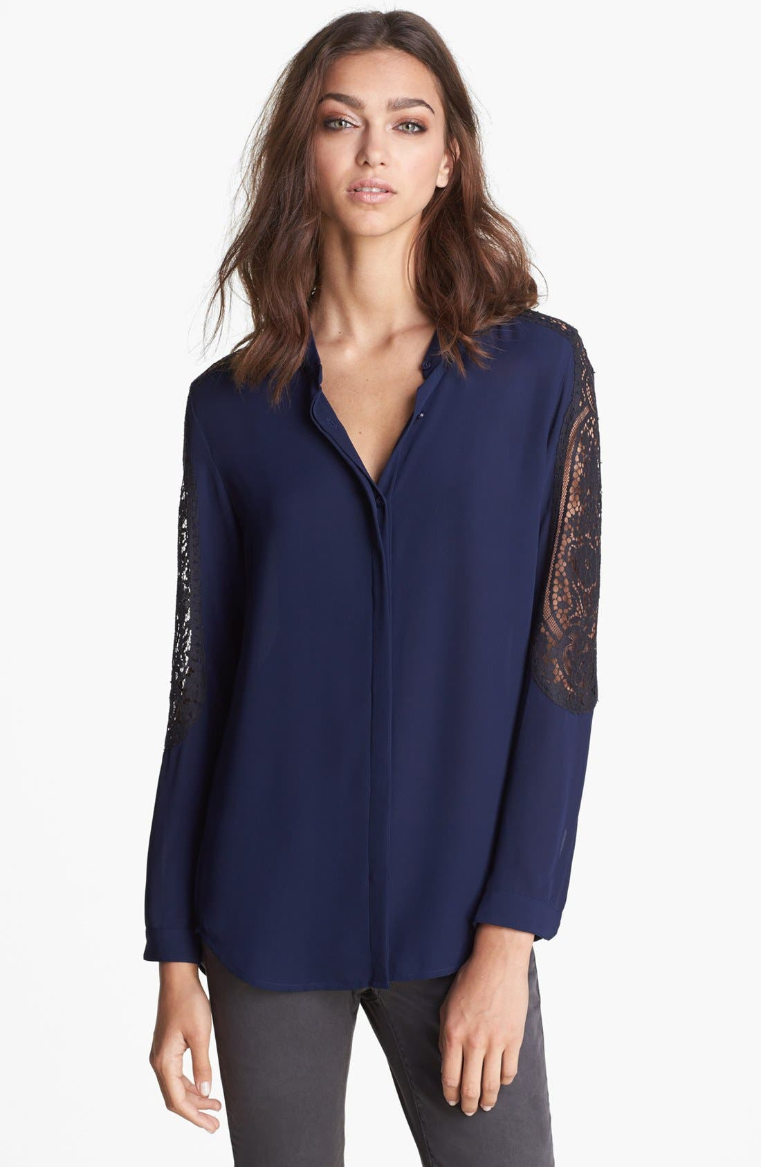 Main Image - The Kooples Lace Sleeve Blouse