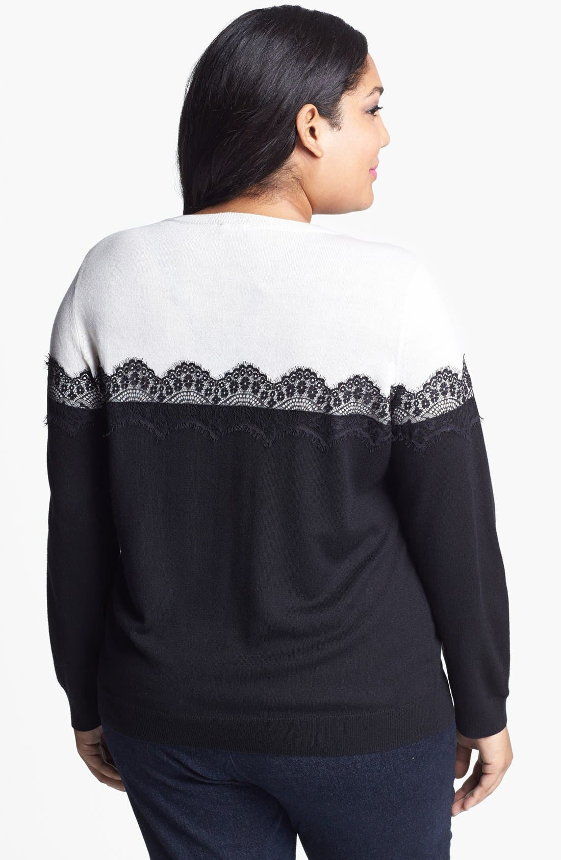 Alternate Image 2  - Vince Camuto Lace Trim Sweater (Plus Size)