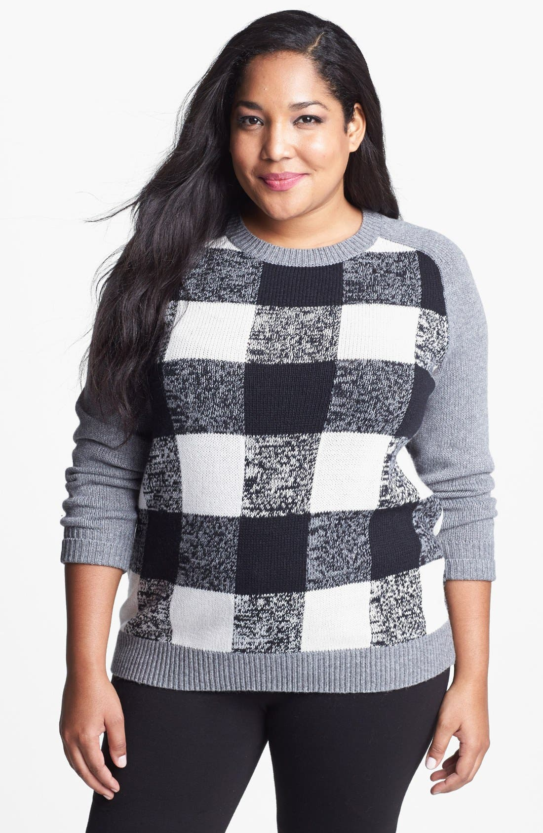 Alternate Image 1 Selected - Halogen® Plaid Sweater (Plus Size)