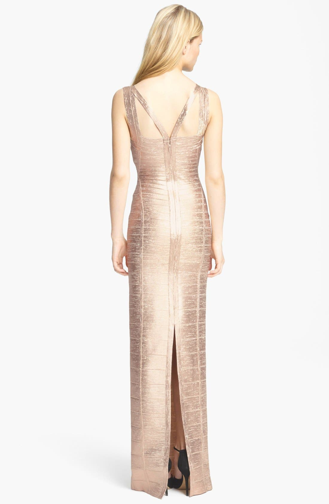 Alternate Image 3  - Herve Leger V-Neck Metallic Bandage Gown