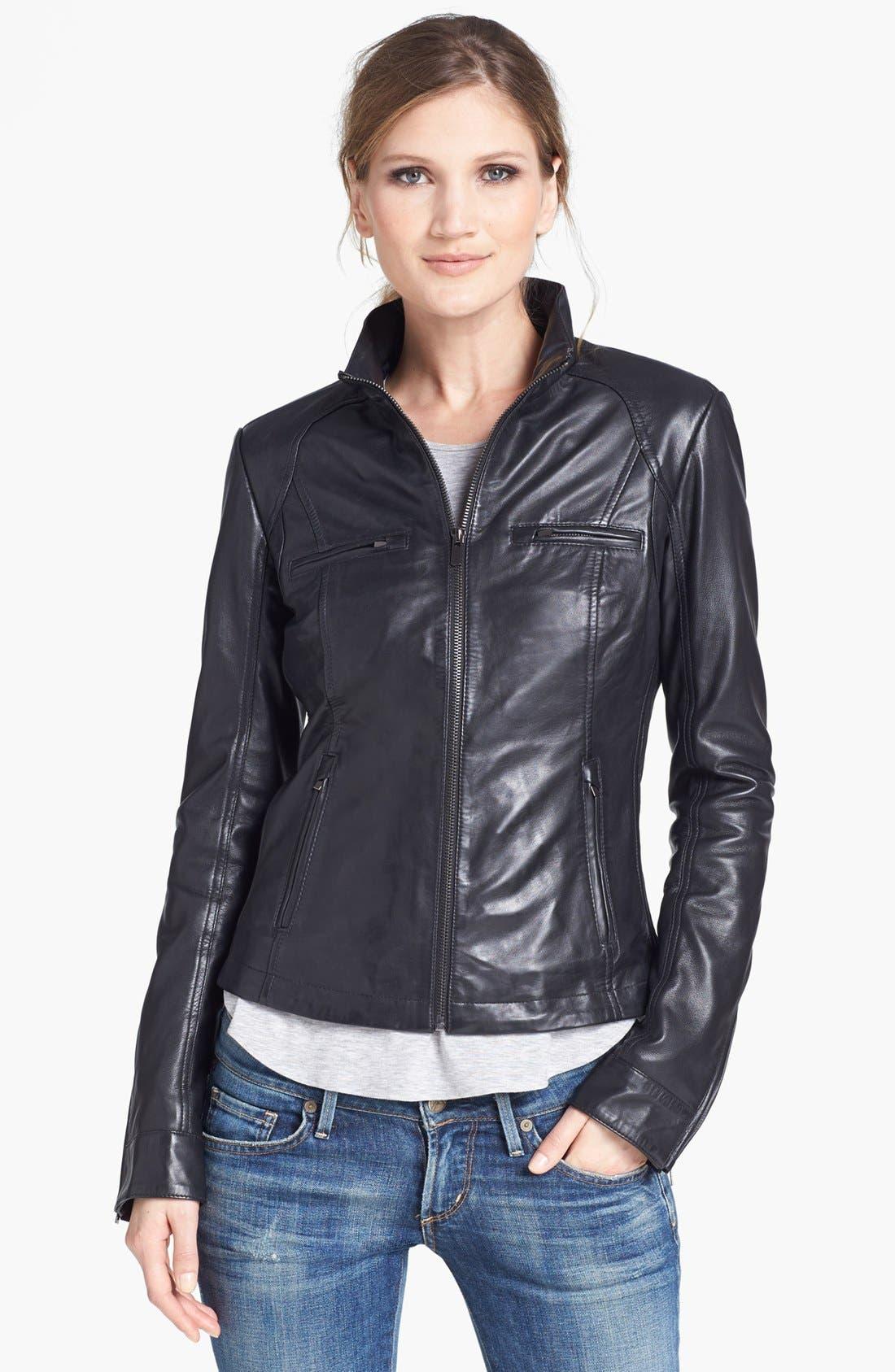 Alternate Image 1  - LaMarque Ribbed Side Leather Jacket