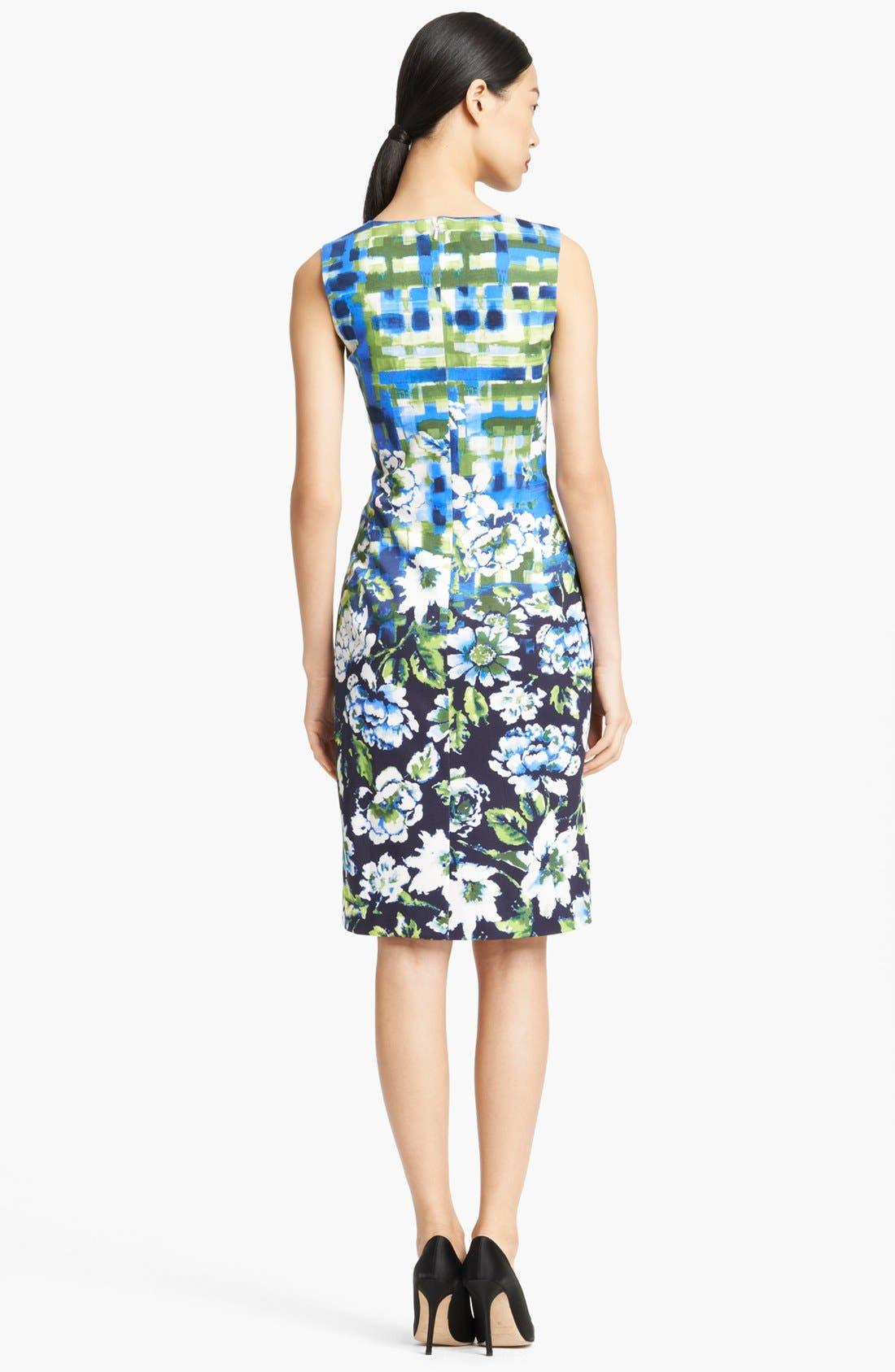 Alternate Image 2  - Oscar de la Renta Painted Floral Print Sheath Dress