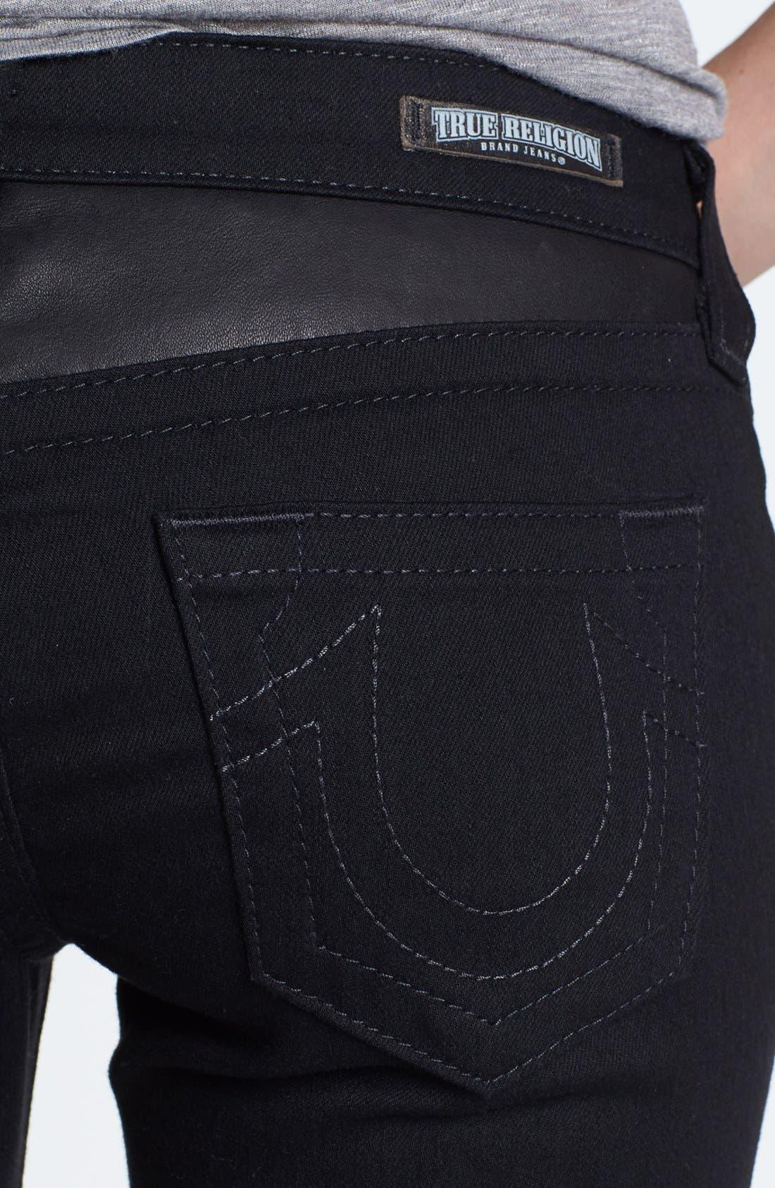 Alternate Image 3  - True Religion Brand Jeans Skinny Moto Jeans (Body Rinse)