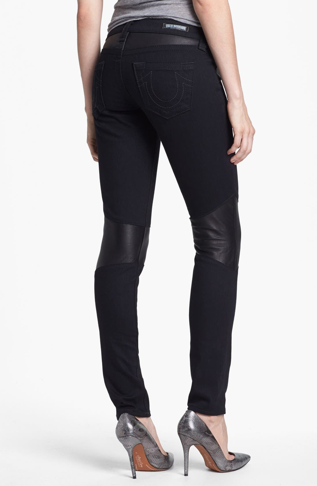 Alternate Image 2  - True Religion Brand Jeans Skinny Moto Jeans (Body Rinse)
