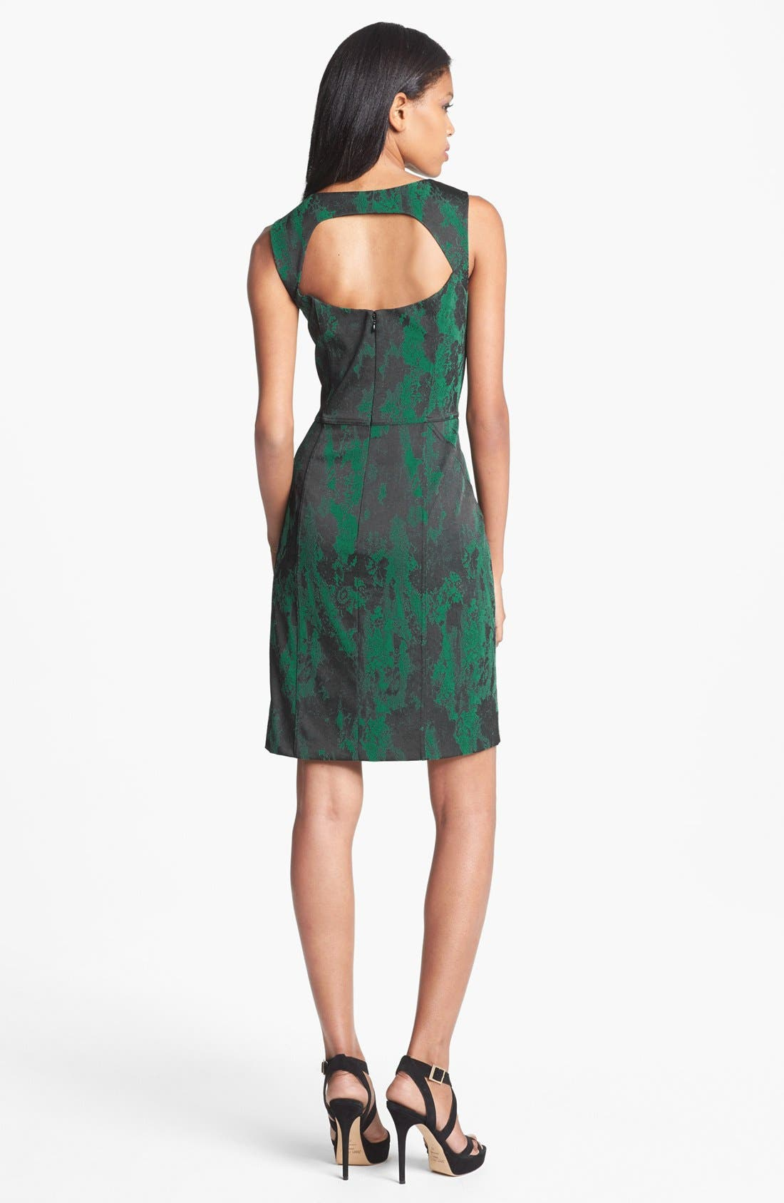 Alternate Image 2  - Aidan Mattox Lace Neckline Jacquard Sheath Dress