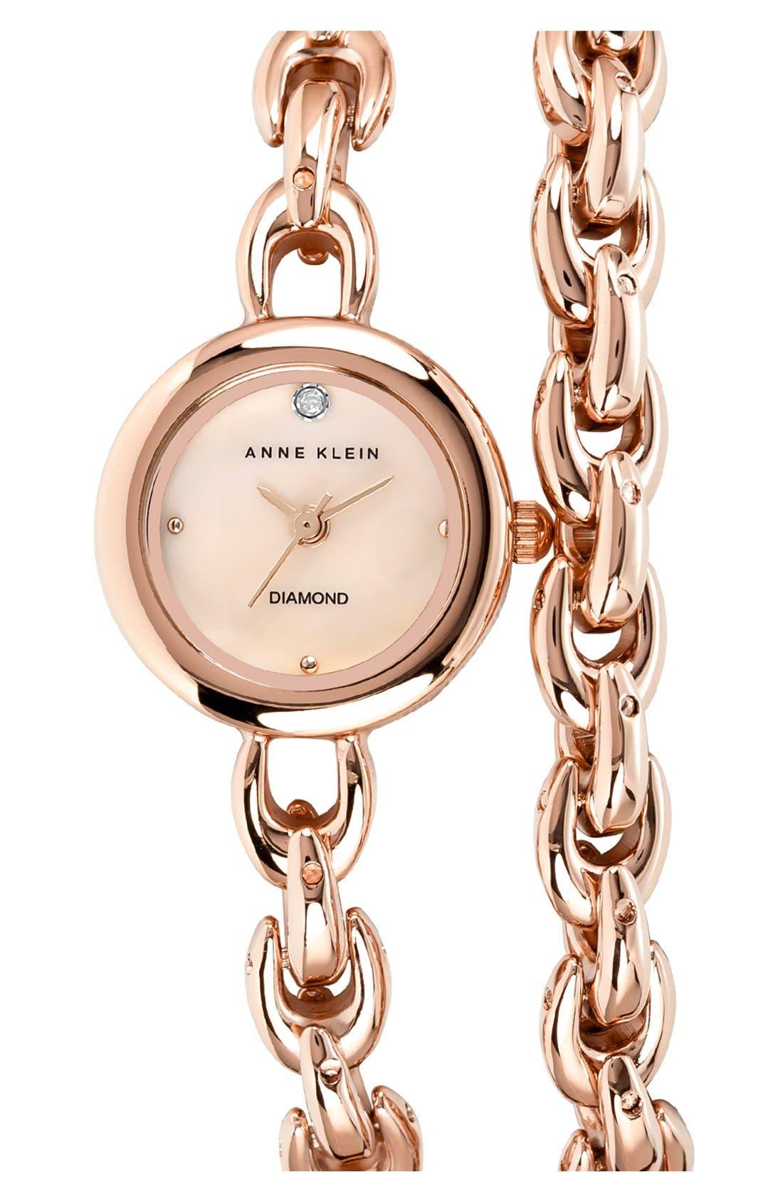 Main Image - Anne Klein Diamond Accent Double Wrap Bracelet Watch, 20mm
