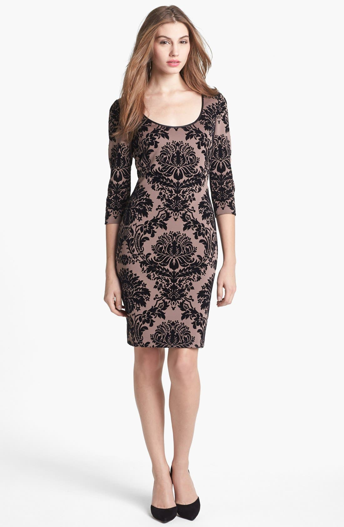 Main Image - Aidan Mattox Flocked Sheath Dress