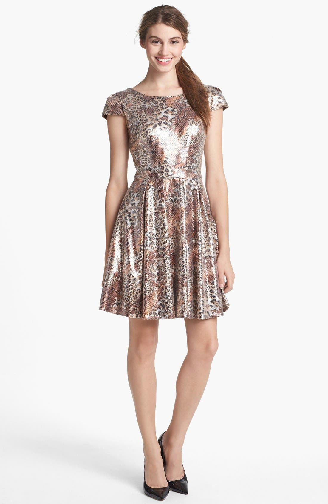 Alternate Image 1 Selected - Betsey Johnson Sequin Print Fit & Flare Dress