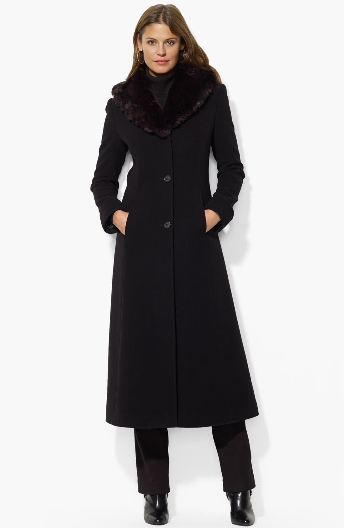 Alternate Image 1 Selected - Lauren Ralph Lauren Faux Fur Collar Wool Blend Coat (Online Only)