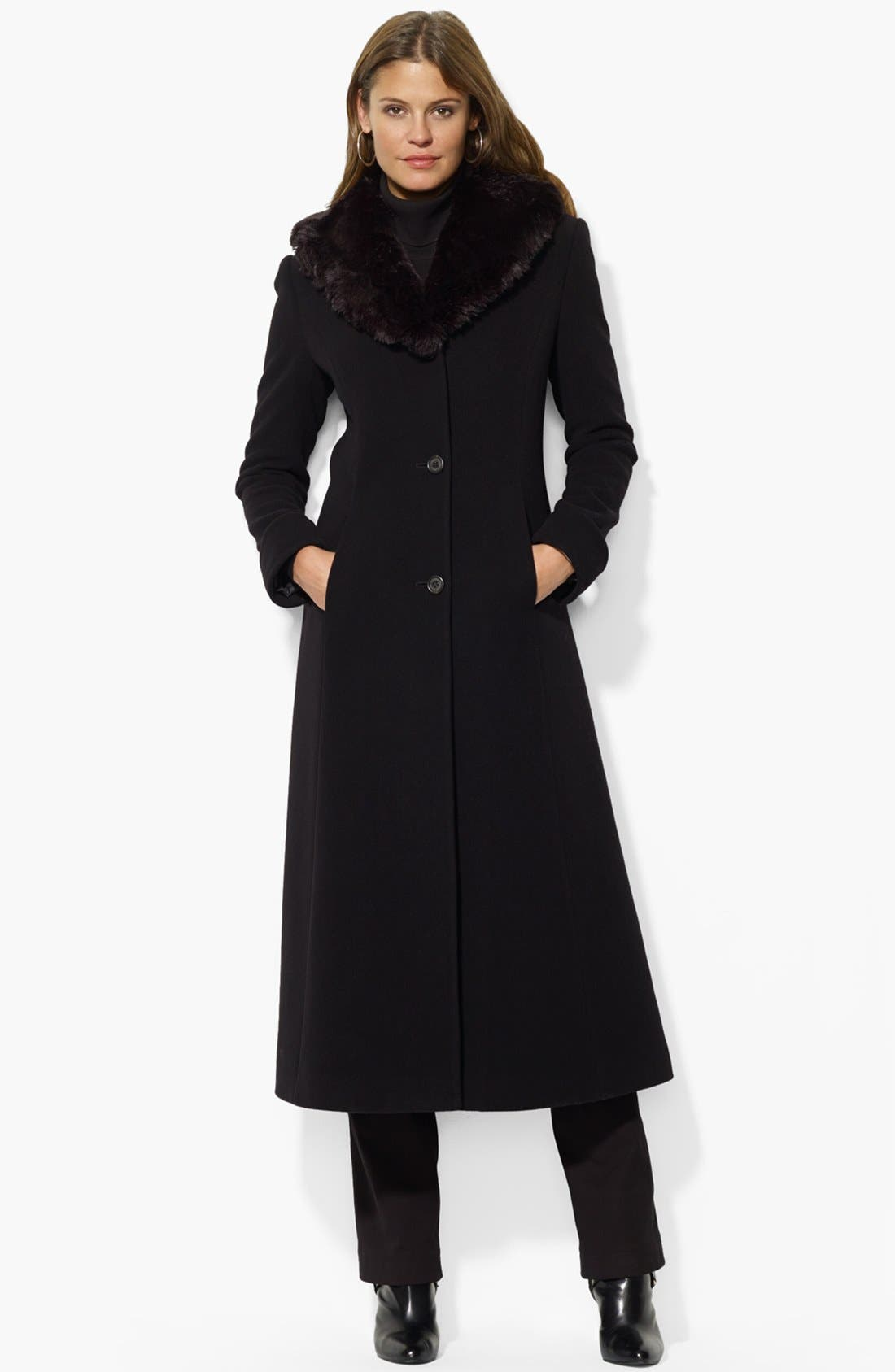 Main Image - Lauren Ralph Lauren Faux Fur Collar Wool Blend Coat (Online Only)