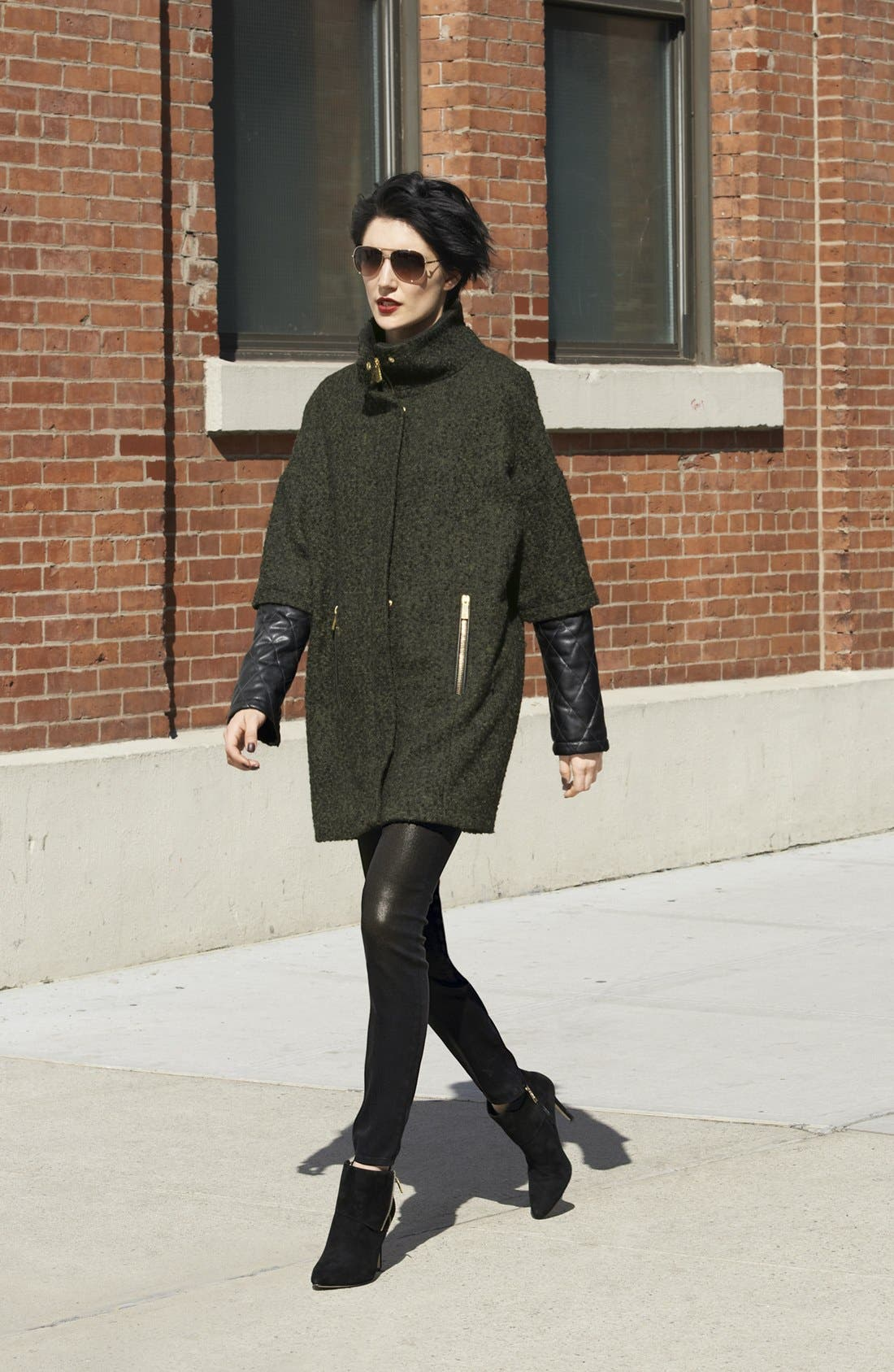 Alternate Image 1 Selected - Vince Camuto Tweed & Faux Leather Coat with J Brand Skinny Jeans