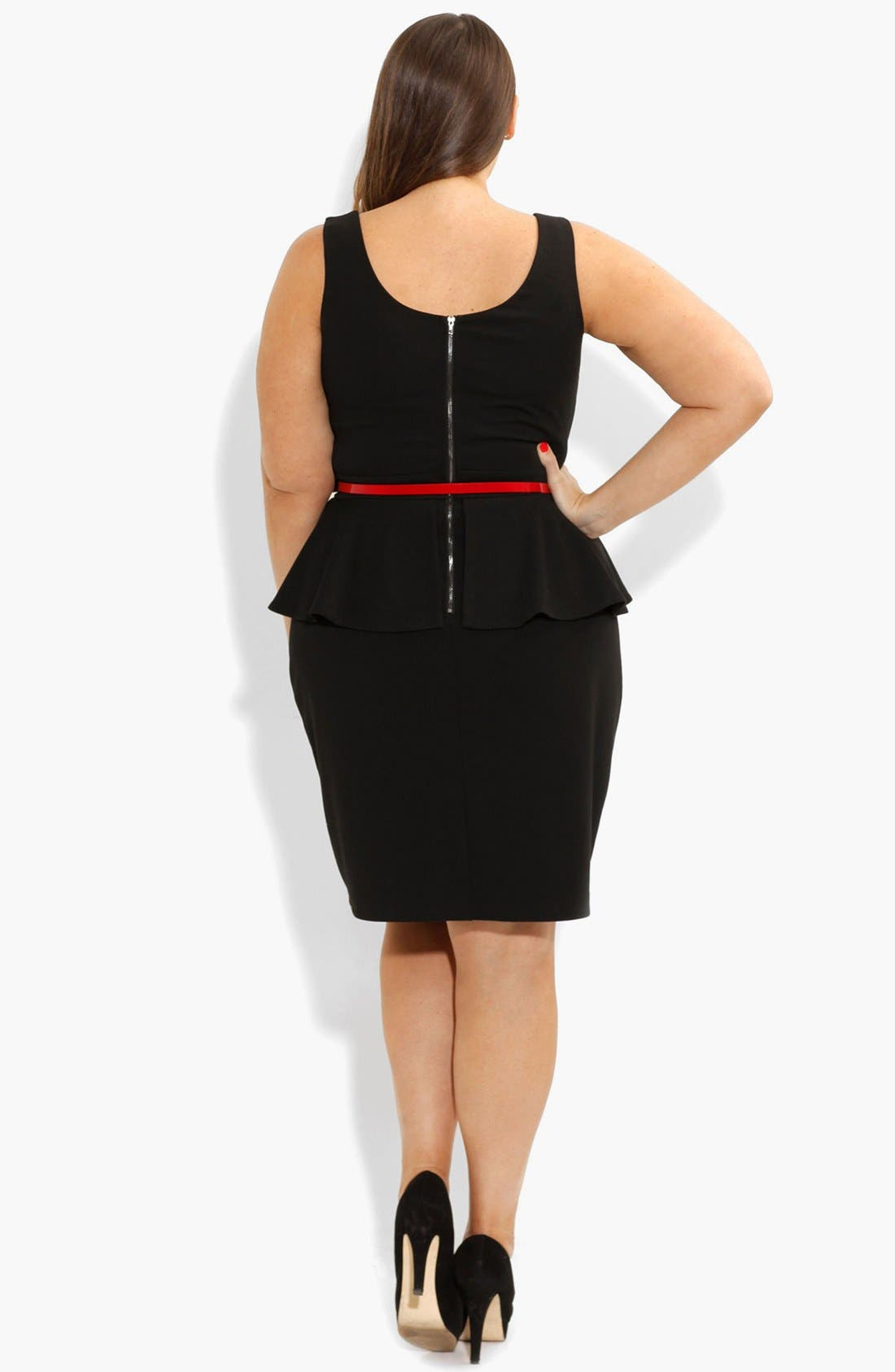 Alternate Image 2  - City Chic Ponte Knit Peplum Dress (Plus Size)