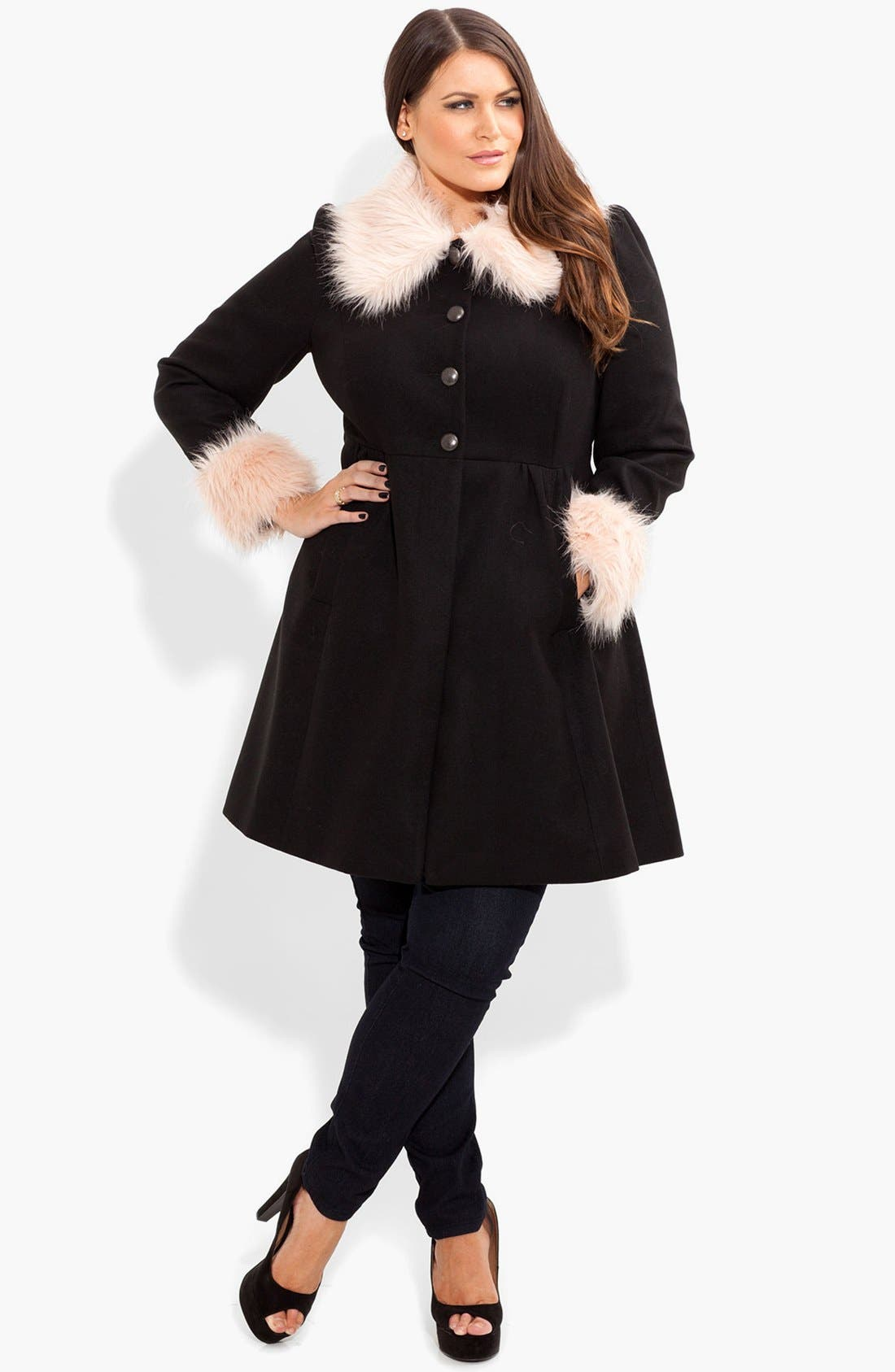 Main Image - City Chic 'Princess' Faux Fur Trim Fit & Flare Coat