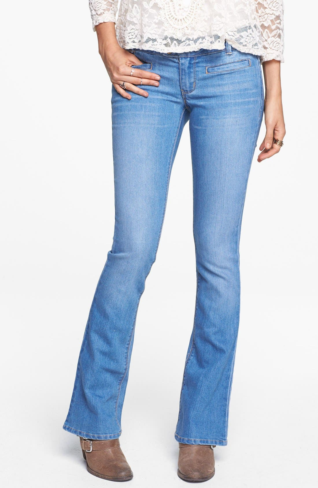 Alternate Image 1 Selected - Jolt Welt Pocket Bootcut Jeans (Light) (Juniors) (Online Only)