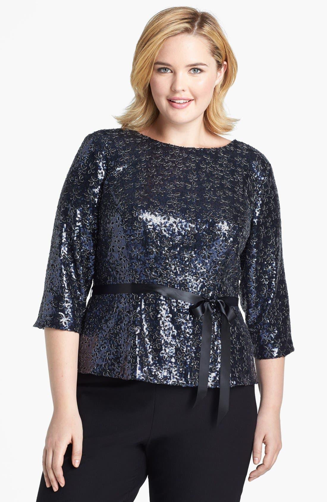Alternate Image 1 Selected - Alex Evenings Sequin  Blouse (Plus Size)