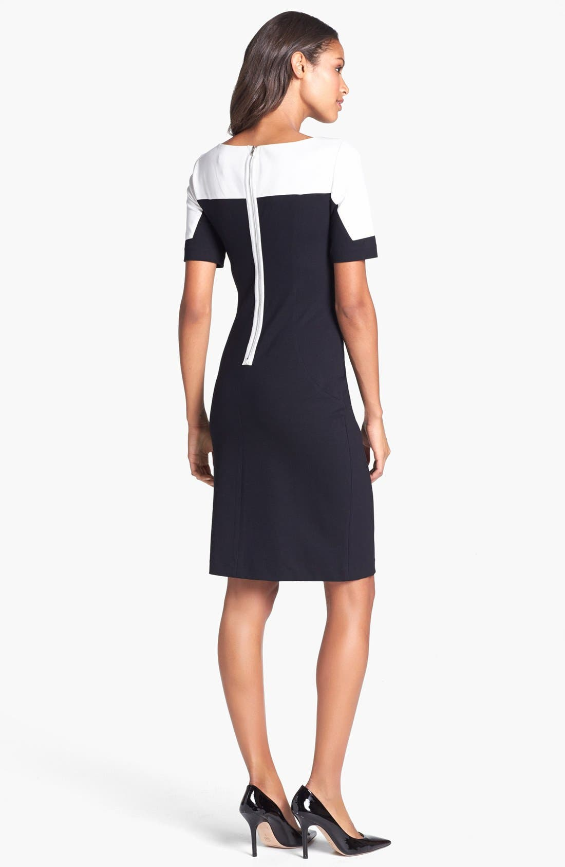 Alternate Image 2  - Ivy & Blu Colorblock Ponte Knit Sheath Dress