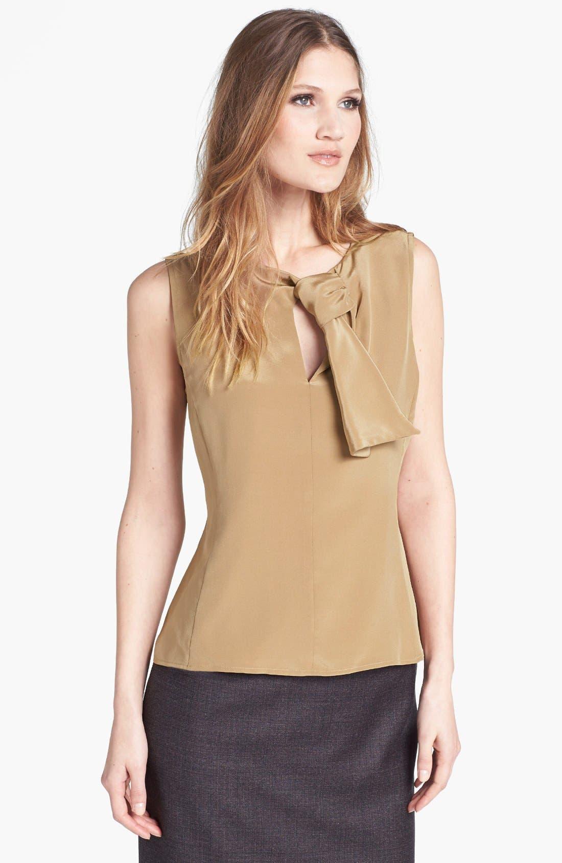 Main Image - Santorelli Tie Neck Silk Shell