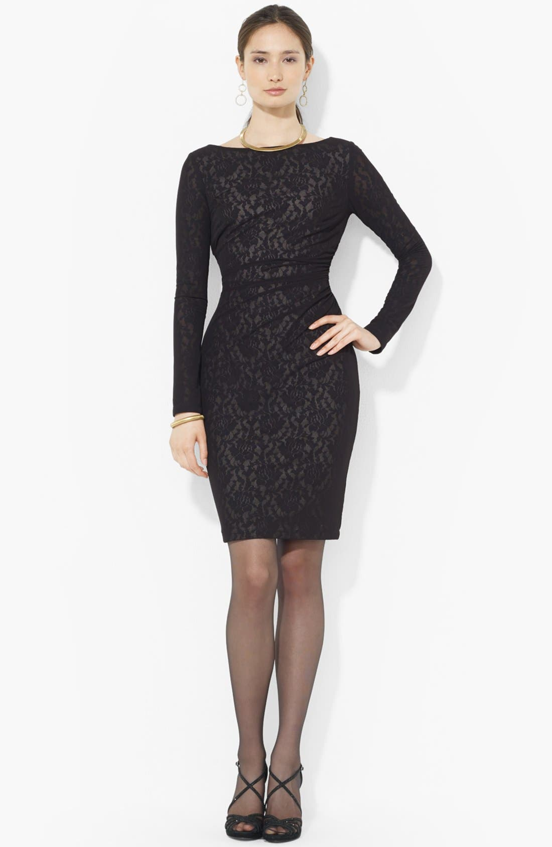 Main Image - Lauren Ralph Lauren Mesh Overlay Lace Dress