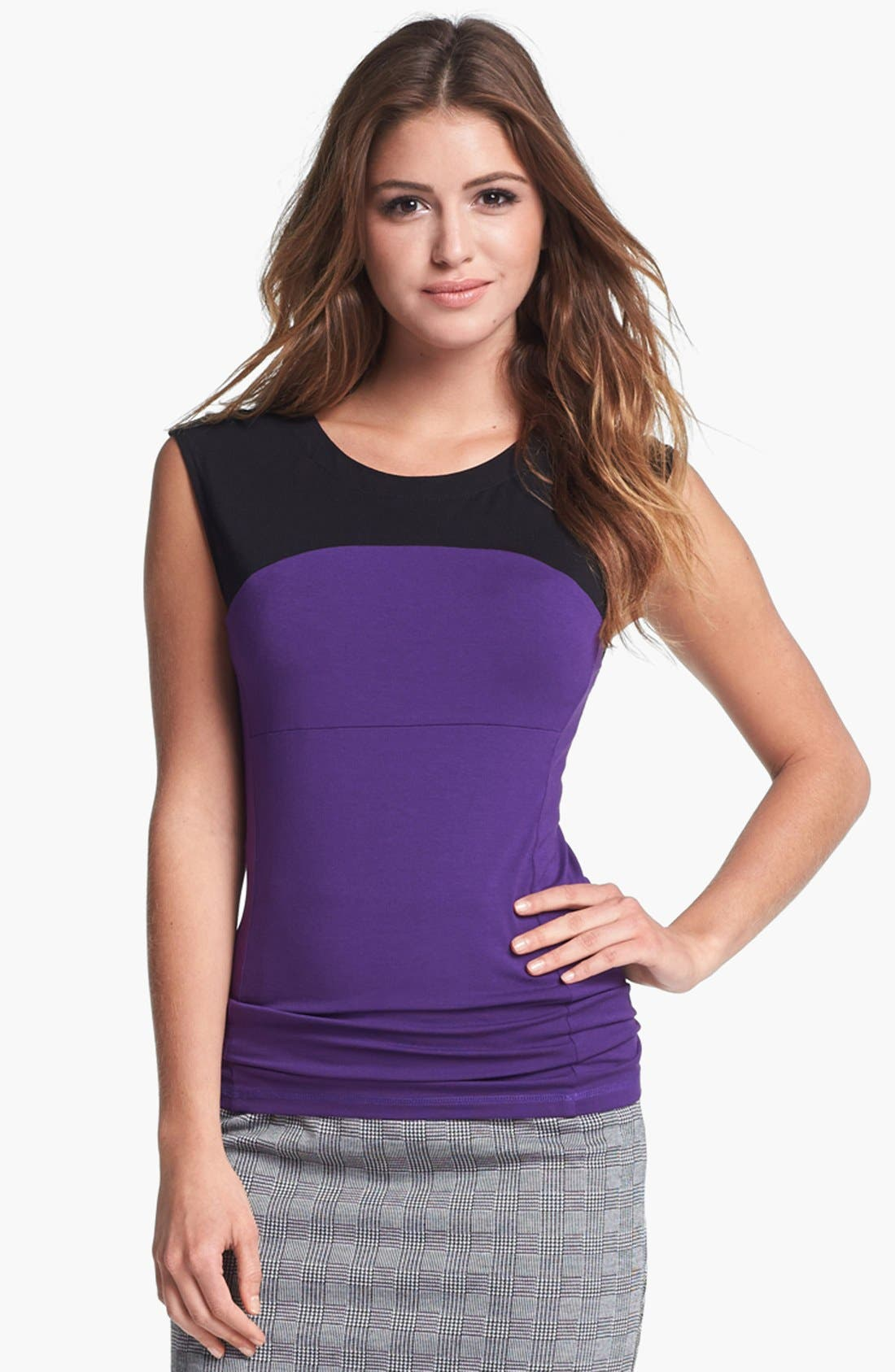 Alternate Image 1 Selected - Vince Camuto Colorblock Tee (Petite) (Nordstrom Exclusive)