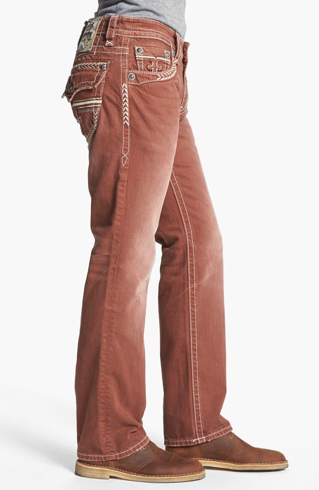 Alternate Image 3  - Rock Revival 'Sebastian' Straight Leg Jeans (Brown)
