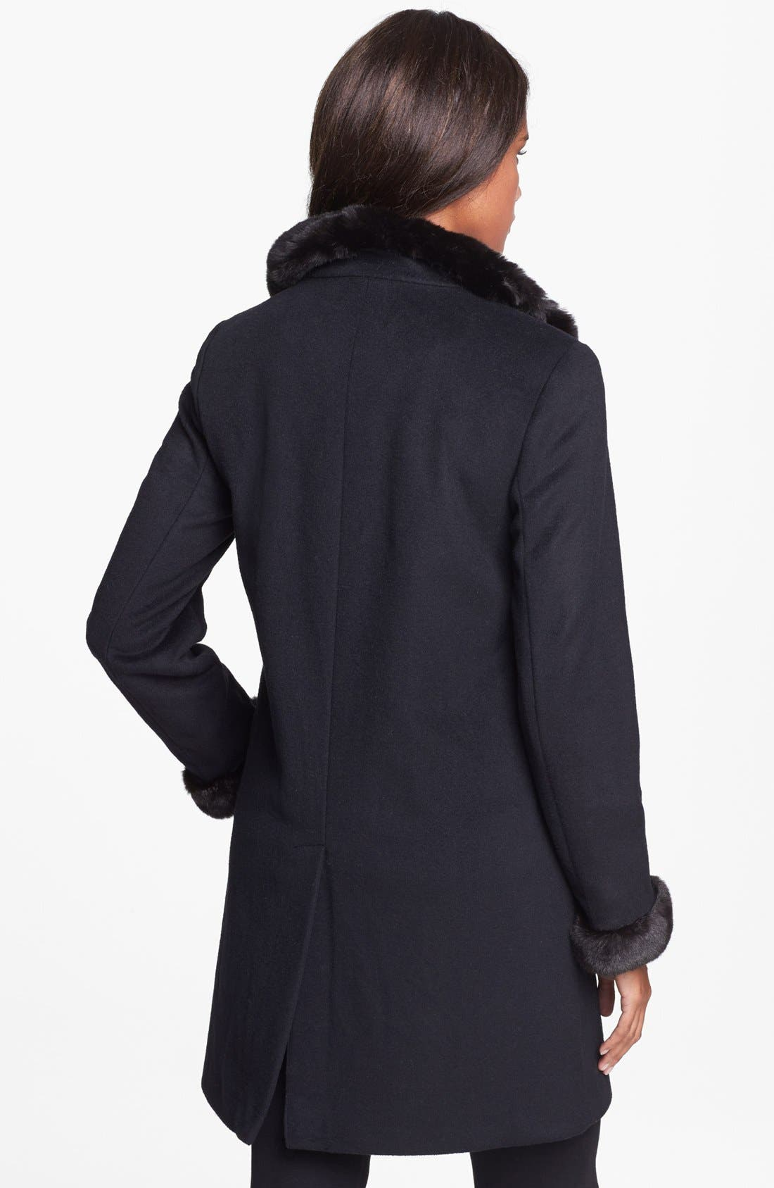 Alternate Image 2  - Ellen Tracy Faux Fur Trim Wool Blend Coat (Nordstrom Exclusive)
