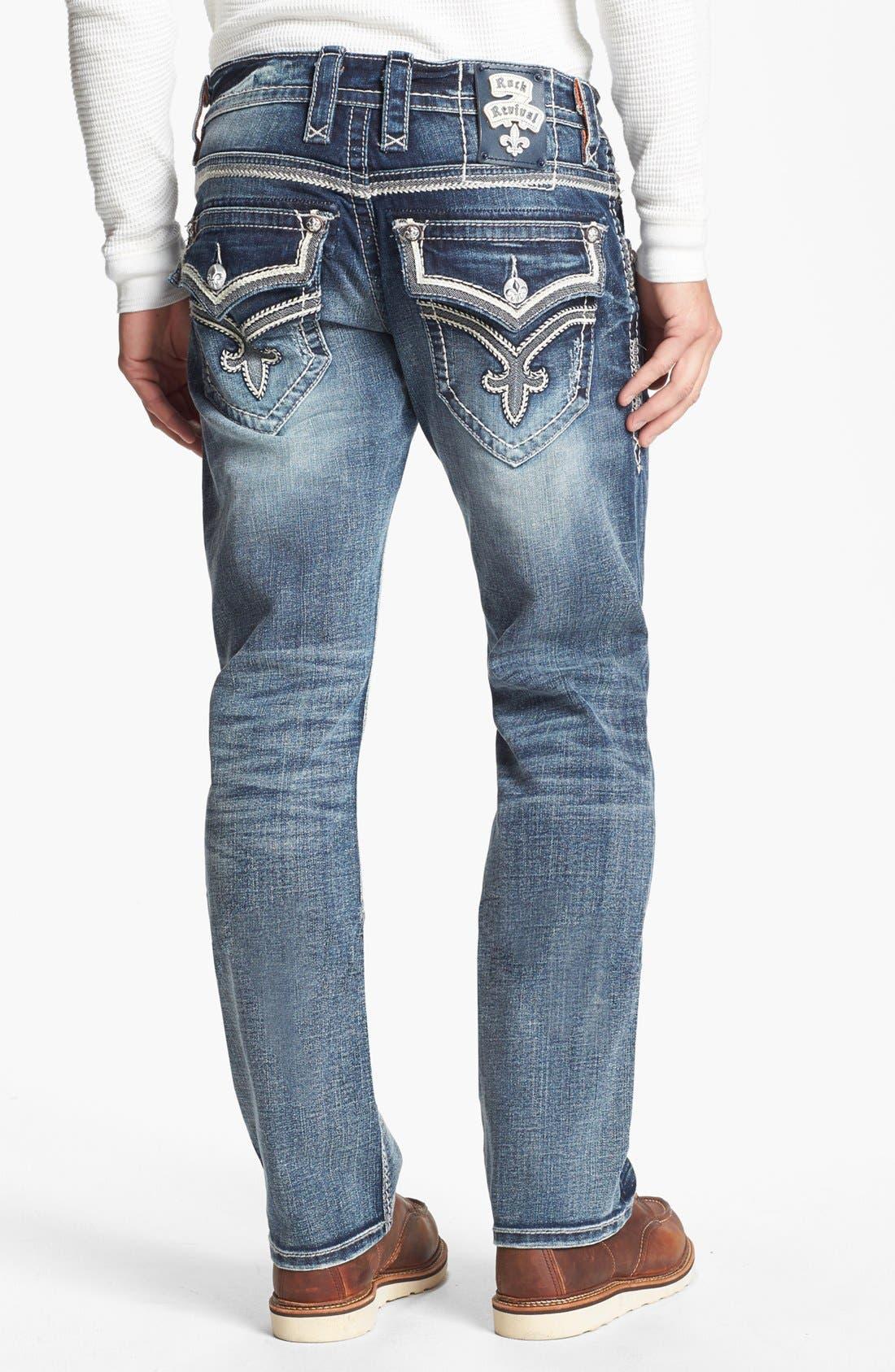 Alternate Image 1 Selected - Rock Revival 'Ben' Straight Leg Jeans (Medium Blue)